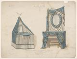 Dressing table and fireplace with drapes