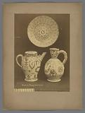 Decorated pottery, teapot, carafe and plate