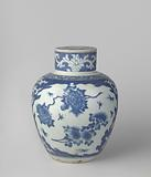 Ovoid covered jar with flower sprays and floral scrolls