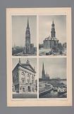 Four views of Hamburg, depicting the St Nikolaikirche, St Michael's Church, Logenhaus and St Gertrude's Church