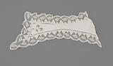 Linen cuff with openwork crown with irregularly serrated edge and trimmed with scalloped strip of bobbin lace