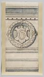 Laurel wreath with letter C or G Fragments of cardboard for the stained glass window in the west facade of Joris van …