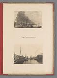 Two views of the Kattenburgerplein in Amsterdam, one of which is a reproduction of a print with the flood in 1775 by …