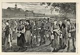 """New England Factory Life – """"Bell-Time"""", from Harper's Weekly, July 25,1868"""
