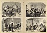 Thanksgiving Day – Ways and Means/Arrival at the Old Home/The Dinner/The Dance, from Harper's Weekly, November 27, 1858