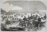 The Union Cavalry and Artillery Starting in Pursuit of the Rebels up the Yorktown Turnpike, from Harper's Weekly, May 17, 1862