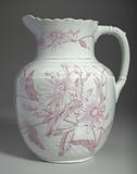 White and pink pitcher and washbowl owned by members of the Ellis family
