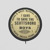 Pinback button for the Scottsboro United Front Defense