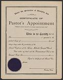 Blank certificate of pastor's appointment for the A. ME Church.