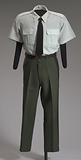 US Army green service uniform shirt worn by Colin L. Powell.