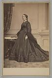 Cabinet card of Mary Jane Hale Welles in a funeral dress by Elizabeth Keckley