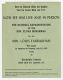 Flier for a speaking event by Minister Farrakhan
