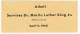 Ticket for funeral services for Martin Luther King, Jr