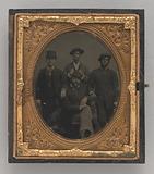 Tintype of four men smoking cigars