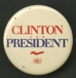 Pinback button for Clinton presidential campaign