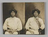 Stereograph card of of an unidentified woman