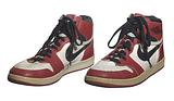 Pair of Air Jordan I shoes game worn and autographed by Michael Jordan