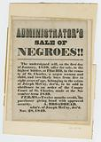 Broadside for sale of enslaved woman and children from estate of Joseph McCoy