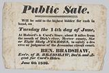 Broadside announcing the sale of enslaved persons in Mercer County, Kentucky
