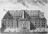 Guy's Hospital, Southwark: an aerial view, with smaller scenes around three sides