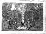 A street during the plague in London with a death cart and m A street during the Great Plague, 1665, in London with a …