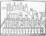Captives impaled from the Ninevah expedition- line drawing