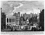 Bath, Somerset: bathers and onlookers in the courtyard containing the royal baths and great pump room, with a statue …