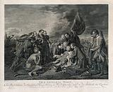 The death of General Wolfe, at Quebec, in the background are soldiers and ships