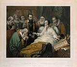 Jean Calvin on his deathbed, with eight men in attendance