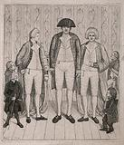 Three giants, the tallest identified as Charles Byrne and the others as twins, and six spectators including an …