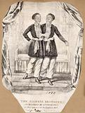 Chang and Eng the Siamese twins, in an oriental setting