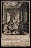 Personifications of law, medicine and theology argue over the superiority of their respective professions