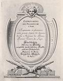 A monument supported by crossed porte-crayons and surmounted by the head of an angel: frontispiece to the depictions …