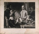 William Harvey demonstrating the palpitations of the foetal heart of a deer to Charles I Engraving by H Lemon, 1851, …