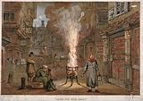 """A street during the plague in London with a death cart and m """"Bring Out Your Dead"""" A street during the Great Plague in …"""