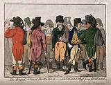Town fops including L Skeffington, J Penn and Lord Kirkcudbright, feigning fashionable wounds after the return of the …