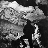 Abbe Breuil in Lascaux caves at La Mouthe
