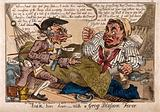 A doctor trying to administer medicines to a drunken, carbuncled sailor