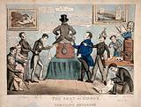 Benjamin Harrison, autocratic treasurer of Guy's hospital, backing the gross nepotism of Sir Astley Cooper