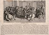 A large gathering of patients and assistants to Mesmer's animal magnetism therapy, showing use of the special tub at …