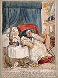 A convalescing woman trying in vain to rouse her slumbering hired nurse: the cat scavenges her food and the candle …
