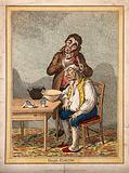 A grimacing invalid seated before a bowl having received an emetic, another man clasps his head compassionately