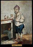 A man standing by a fireplace, pulling a peculiar face after taking some medicine