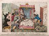 Dr Richard Price kneeling on a large crown (with a demon on his back) to look through a peep-hole at a group of …