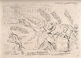 Elizabeth Gunning astride a cannon firing by the pen of her mother a blast of forged letters at the facade of Blenheim …