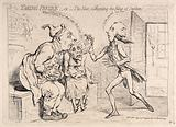 The grossly agitated King and Queen seated in a latrine to receive a message from the emaciated Pitt the younger