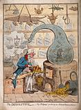 An alchemist using a crown-shaped bellows to blow the flames of a furnace and heat a glass vessel in which the House …