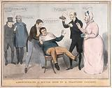 A man being restrained in a chair while a doctor and nurse prepare to give him some medicine