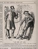 A doctor reprimanding the drunkenness of the village grave-digger, who retorts that he does not criticise the doctor …