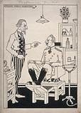 A dentist (Uncle Sam) about to extract a tooth from a patient (Kaiser Wilhem II)